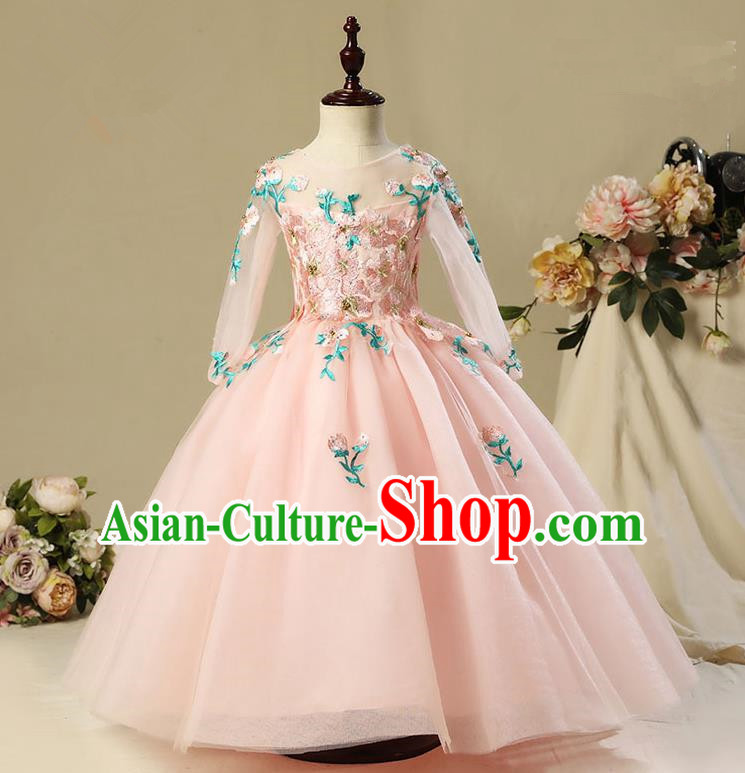 Children Model Show Dance Costume Embroidery Christmas Pink Long Sleeve Dress, Ceremonial Occasions Catwalks Princess Full Dress for Girls