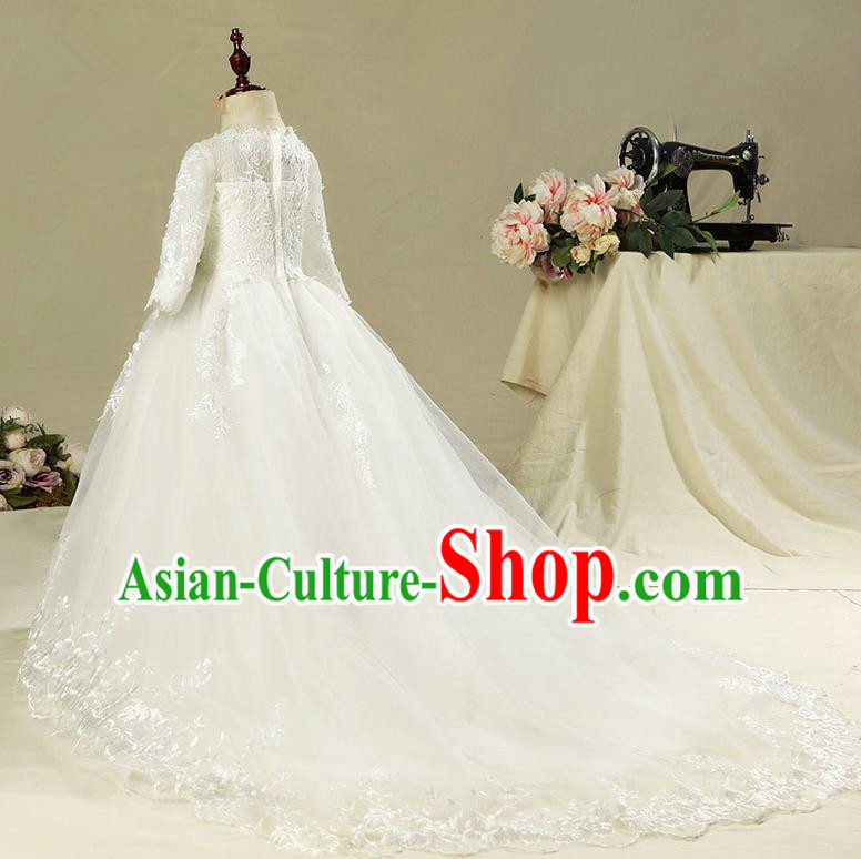 Children Model Show Dance Costume White Trailing Dress, Ceremonial Occasions Catwalks Princess Full Dress for Girls