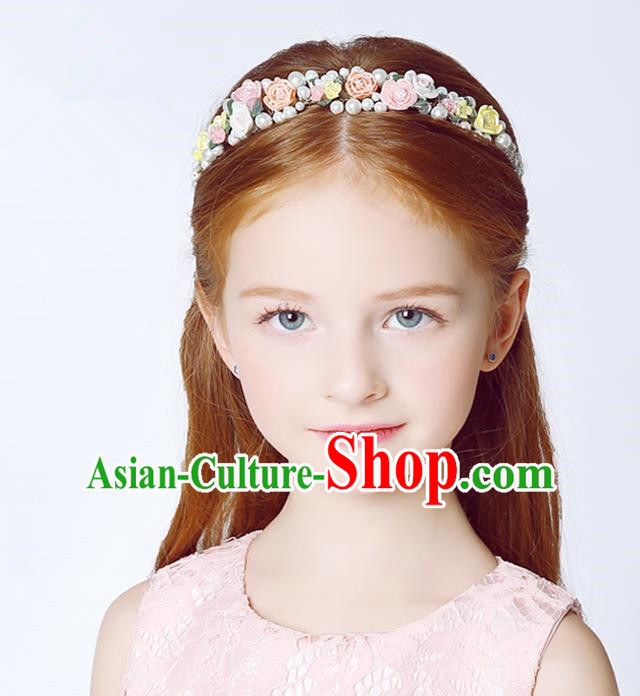 Handmade Children Hair Accessories Ceramics Flowers Pearls Hair Stick, Princess Halloween Model Show Headwear Hair Clasp for Kids
