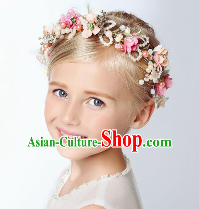 Handmade Children Hair Accessories Flowers Garland, Princess Halloween Model Show Headwear Hair Clasp for Kids