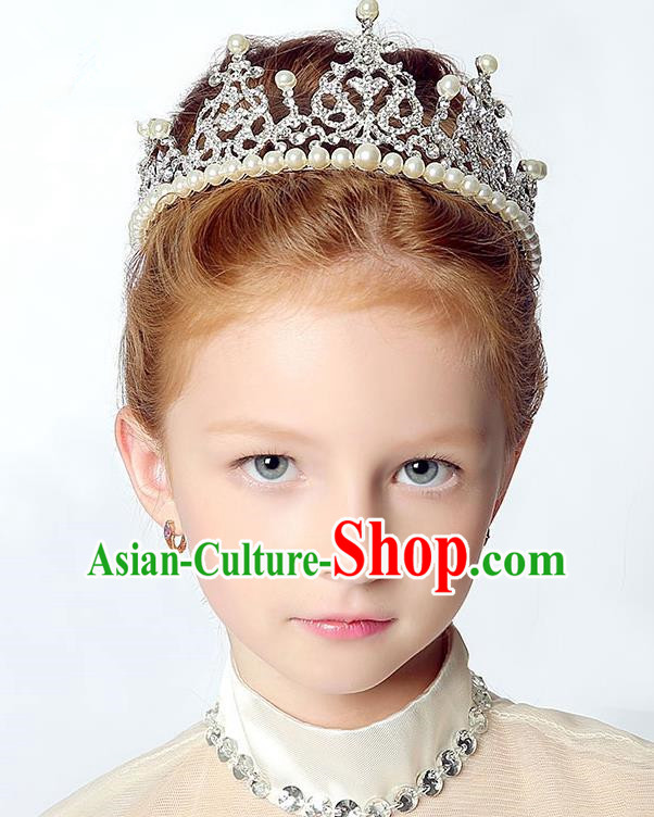 Handmade Children Hair Accessories Crystal Pearls Royal Crown, Princess Halloween Model Show Headwear for Kids