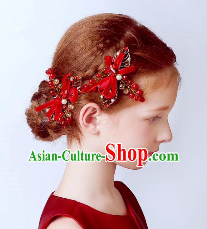 Handmade Children Hair Accessories Red Bowknot Pearls Hair Stick, Princess Halloween Model Show Headwear for Kids