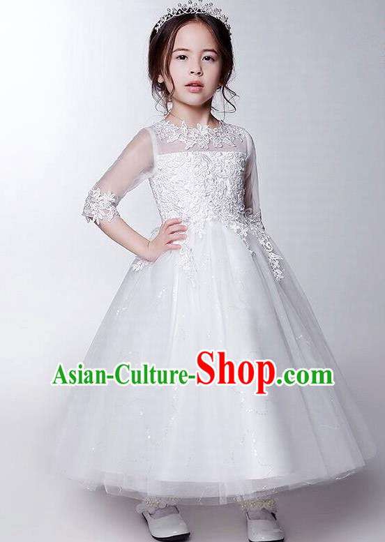 Children Model Show Dance Costume White Bubble Dress, Ceremonial Occasions Catwalks Princess Full Dress for Girls