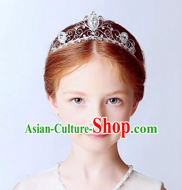 Handmade Children Hair Accessories Crystal Hair Clasp, Princess Halloween Model Show Royal Crown Headwear for Kids
