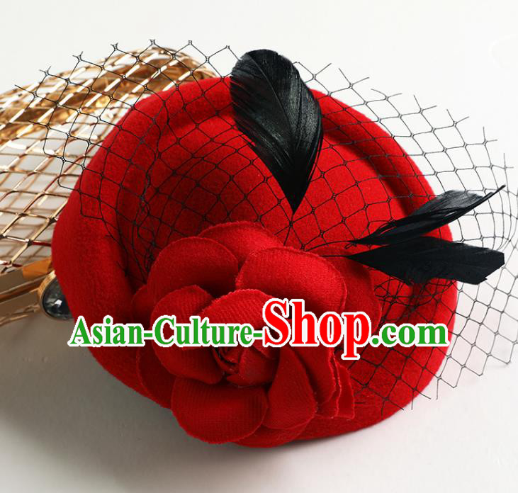 Handmade Children Hair Accessories Red Hat, Princess Halloween Model Show Top Hat Headwear for Kids