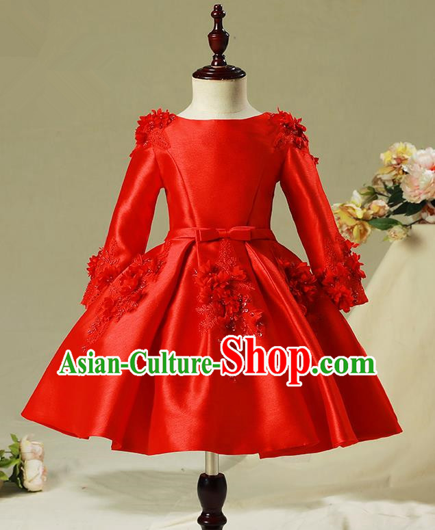 Children Model Show Dance Costume Red Embroidered Dress, Ceremonial Occasions Catwalks Princess Full Dress for Girls
