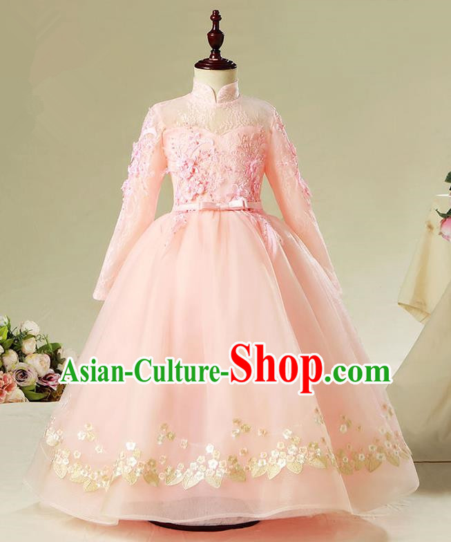 Children Model Show Dance Costume Pink Veil Dress, Ceremonial Occasions Catwalks Princess Full Dress for Girls