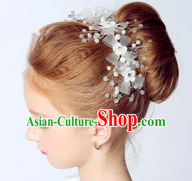 Handmade Children Hair Accessories White Bowknot Hair Stick, Princess Halloween Model Show Hair Claw Headwear for Kids