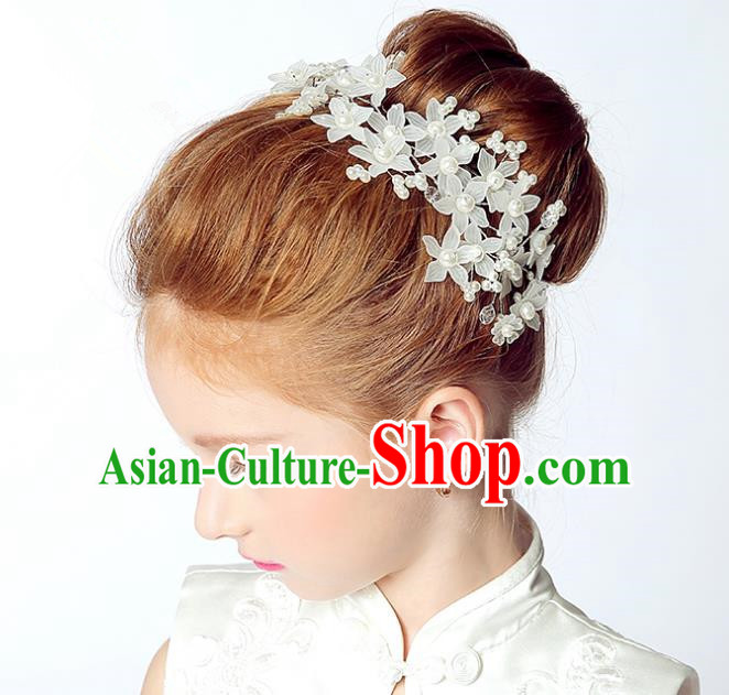 Handmade Children Hair Accessories White Flowers Hair Clasp, Princess Halloween Model Show Headwear for Kids