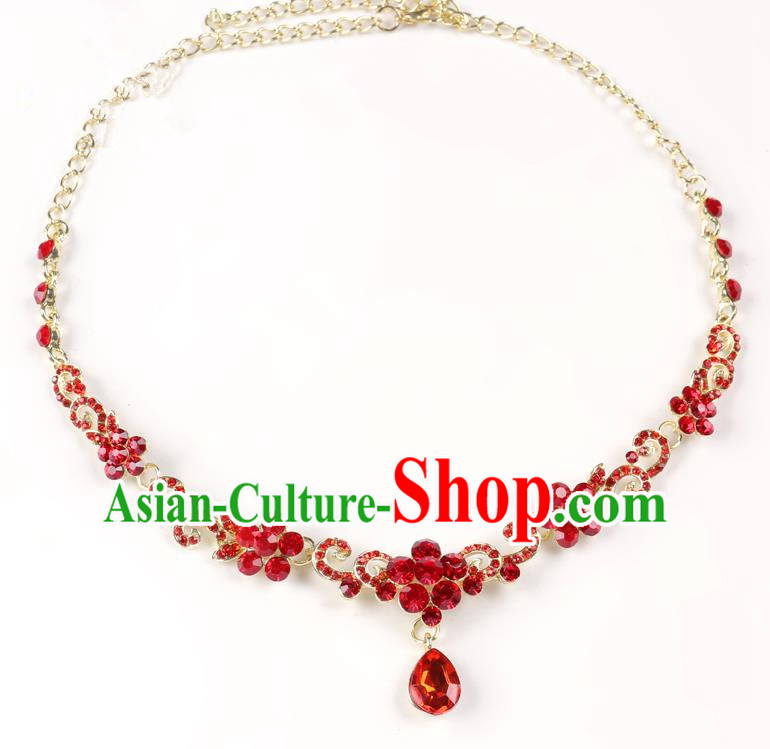 Handmade Children Hair Accessories Red Crystal Frontlet, Princess Halloween Model Show Hair Clasp Headwear for Kids