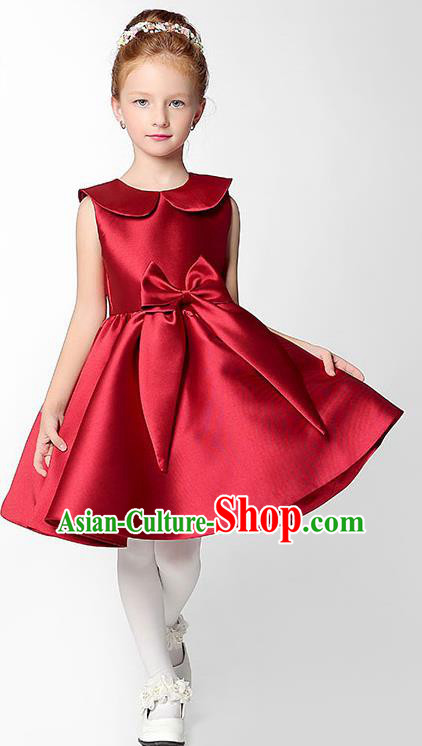 Children Model Show Dance Costume Red Satin Dress, Ceremonial Occasions Catwalks Princess Full Dress for Girls