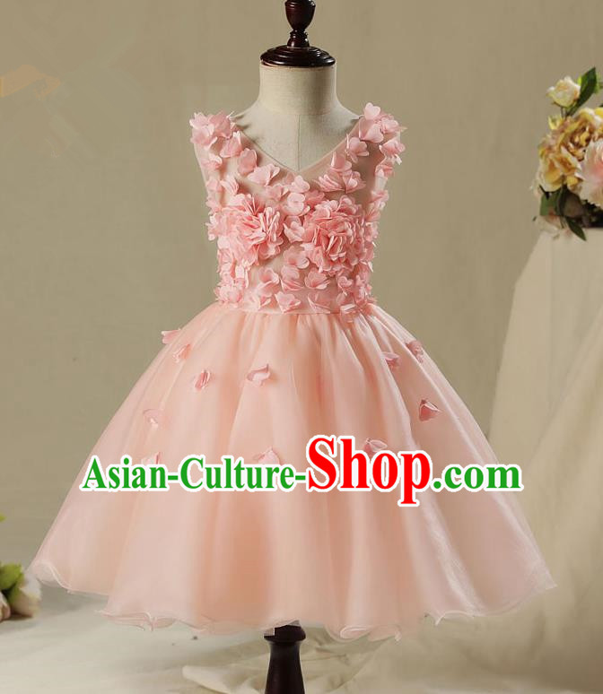 Children Model Show Dance Costume Pink Flowers Dress, Ceremonial Occasions Catwalks Princess Full Dress for Girls