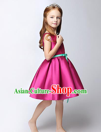 Children Model Show Dance Costume Rosy Satin Dress, Ceremonial Occasions Catwalks Princess Full Dress for Girls