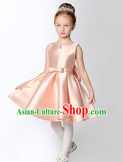 Children Model Show Dance Costume Pink Satin Dress, Ceremonial Occasions Catwalks Princess Full Dress for Girls