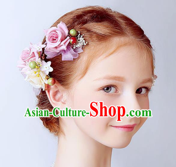 Handmade Children Hair Accessories Pink Flowers Hair Claw, Princess Halloween Model Show Hair Stick Headwear for Kids