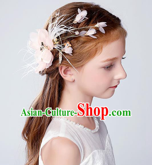 Handmade Children Hair Accessories Pink Flowers Feather Hair Claw, Princess Halloween Model Show Hair Stick Headwear for Kids