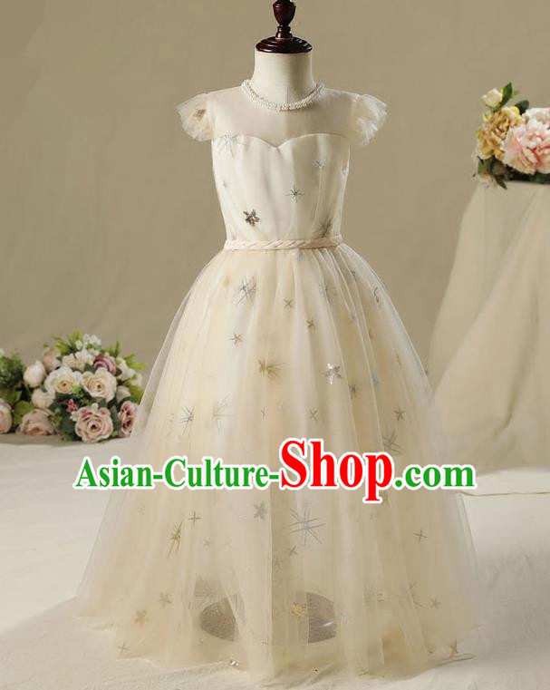 Children Model Show Dance Costume Champagne Veil Dress, Ceremonial Occasions Catwalks Princess Full Dress for Girls
