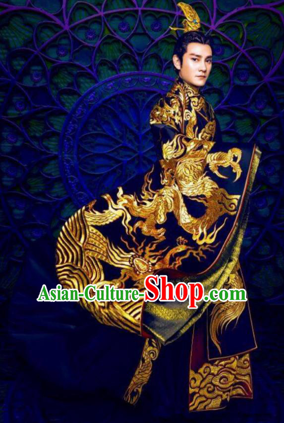 Asian Chinese Southern Liang Dynasty Imperial Emperor Embroidered Costume and Headpiece Complete Set for Men