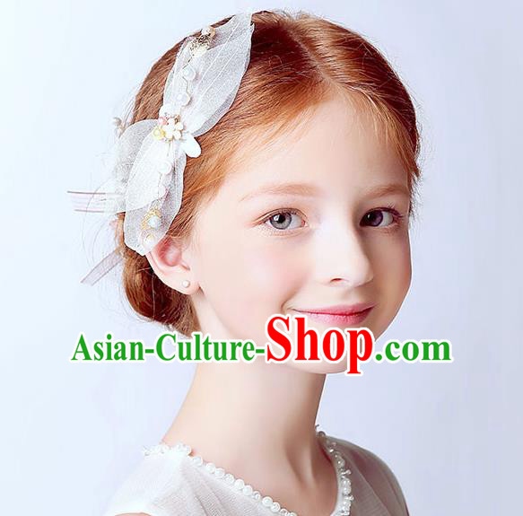 Handmade Children Hair Accessories Pink Bowknot Hair Stick, Princess Halloween Model Show Hair Claw Headwear for Kids