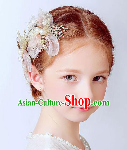 Handmade Children Hair Accessories Bowknot Pearls Hair Stick, Princess Halloween Model Show Hair Claw Headwear for Kids