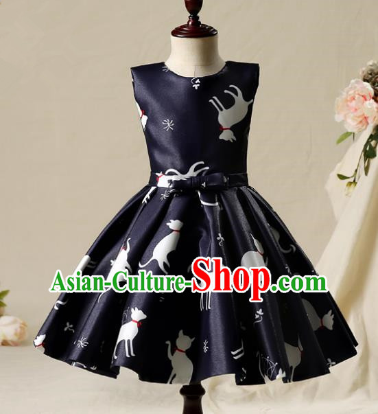 Children Model Show Dance Costume Navy Full Dress, Ceremonial Occasions Catwalks Princess Bubble Dress for Girls
