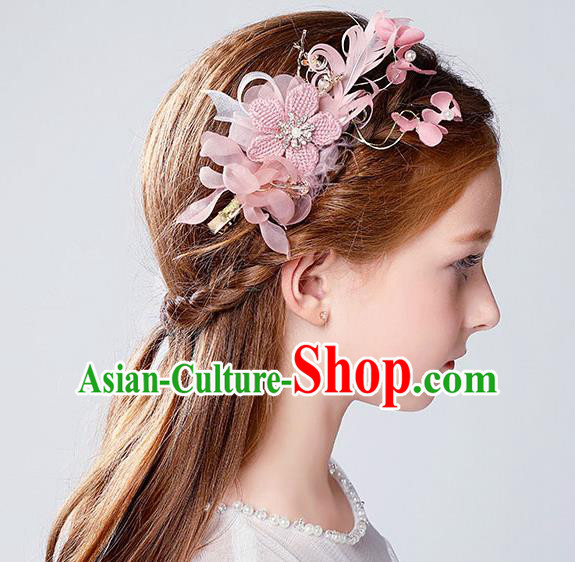 Handmade Children Hair Accessories Pink Flowers Hair Stick, Princess Halloween Model Show Hair Claw Headwear for Kids