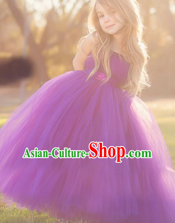Children Model Show Dance Costume Purple Veil Full Dress, Ceremonial Occasions Catwalks Princess Dress for Girls