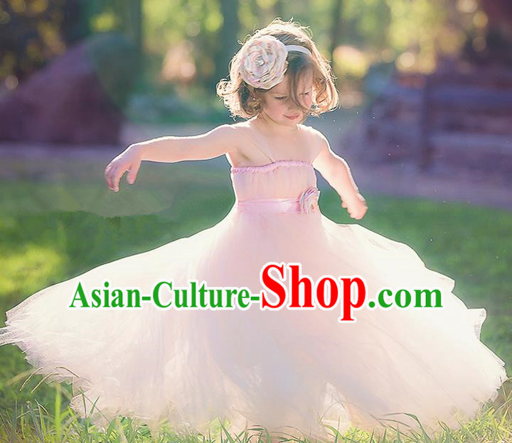 Children Model Show Dance Costume Pink Veil Full Dress, Ceremonial Occasions Catwalks Princess Dress for Girls