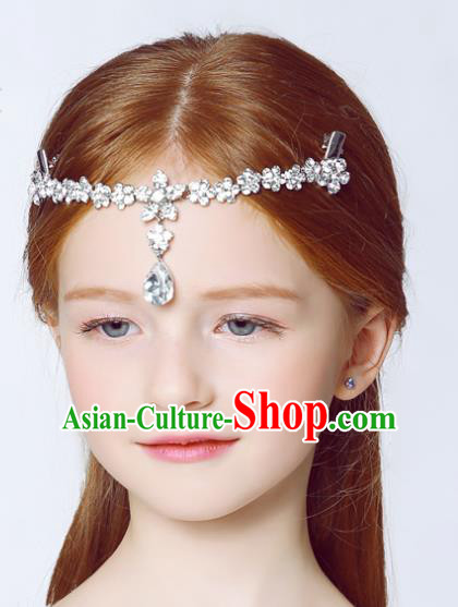 Handmade Children Hair Accessories Crystal Hair Stick, Princess Halloween Model Show Forehead Ornament Headwear for Kids