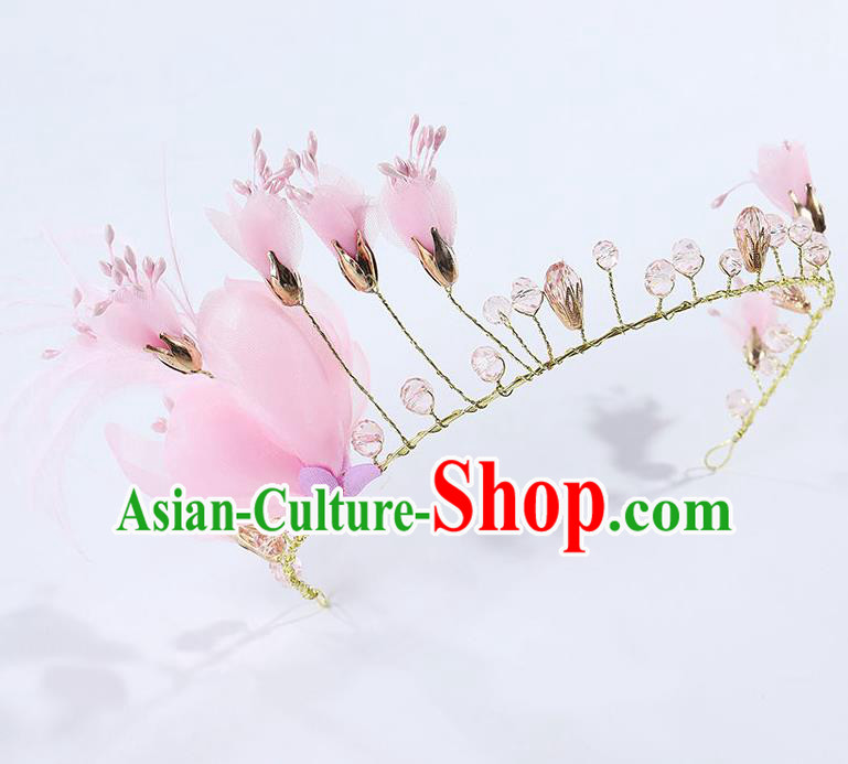 Handmade Children Hair Accessories Pink Flowers Royal Crown, Princess Halloween Model Show Hair Clasp Headwear for Kids