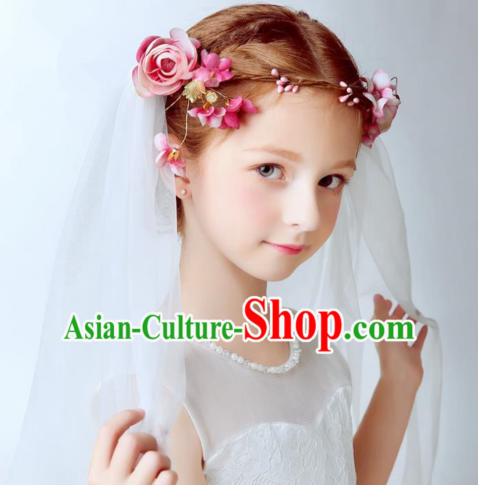 Handmade Children Hair Accessories Pink Flowers Hair Clasp, Princess Halloween Model Show Bridal Veil Headwear for Kids