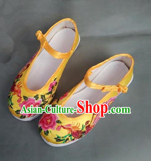 Asian Chinese Shoes Wedding Shoes Yellow Satin Melaleuca Shoes, Traditional China Opera Shoes Hanfu Shoes Embroidered Phoenix Peony Shoes