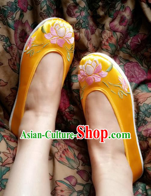 Asian Chinese Shoes Wedding Shoes Kung fu Shoes, Traditional China Opera Shoes Hanfu Shoes Embroidered Lotus Yellow Shoes