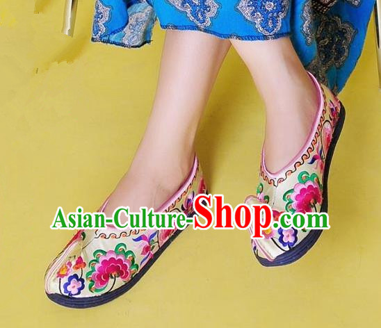 Asian Chinese Shoes Wedding Shoes Handmade Yellow Embroidered Shoes, Traditional China Princess Shoes Hanfu Become Warped Head Shoe for Women