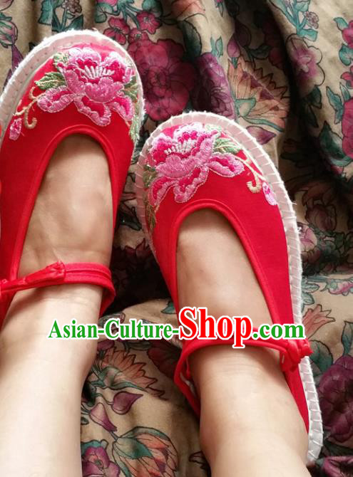 Asian Chinese National Wedding Red Cloth Embroidered Shoes, Traditional China Princess Handmade Shoes Hanfu Shoe for Women