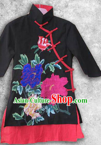 Traditional Chinese Classical Costume Embroidered Blouse, Folk Dance Upper Outer Garment for Women