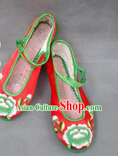 Asian Chinese National Embroidered Red Shoes, Traditional China Princess Handmade Shoes Hanfu Embroidery Wedding Shoe for Women