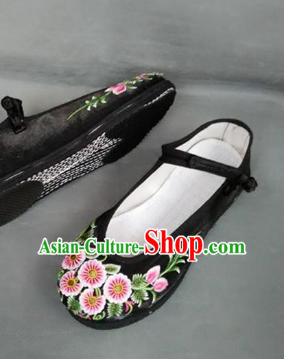 Asian Chinese National Embroidered Shoes, Traditional China Handmade Shoes Hanfu Embroidery Daisy Black Shoes for Women