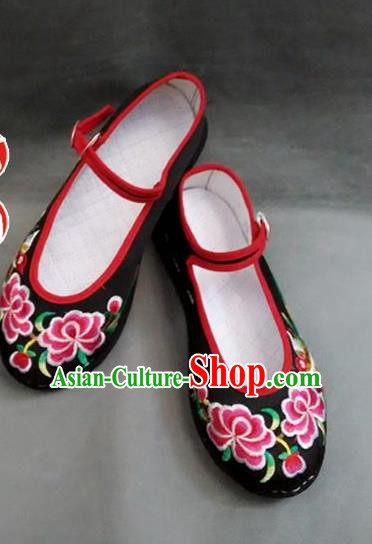 Asian Chinese National Wedding Black Embroidered Shoes, Traditional China Handmade Shoes Hanfu Embroidery Phoenix Peony Shoes for Women