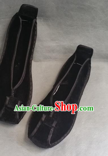 Asian Chinese National Black Velvet Embroidered Shoes, Traditional China Handmade Shoes Hanfu Embroidery Shoes for Women