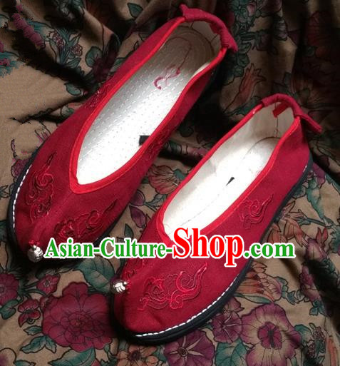 Asian Chinese National Embroidery Wedding Red Shoes Handmade Embroidered Shoes, Traditional China Princess Shoes Hanfu Shoe for Women