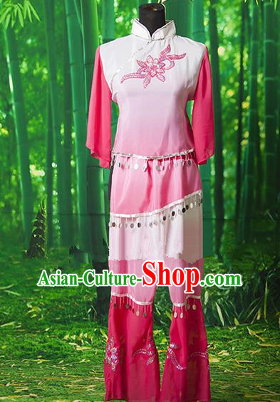 Traditional Chinese Classical Dance Yangge Fan Dancing Costume, Drum Dance Uniform Yangko Pink Costume for Women