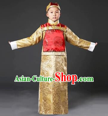 Traditional Ancient Chinese Manchu Prince Costume, Asian Chinese Qing Dynasty Minister Clothing for Kids
