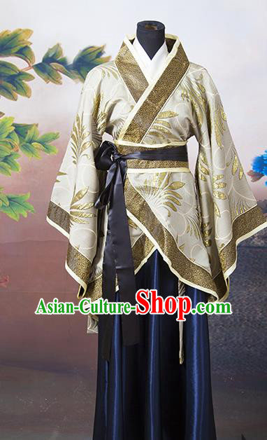 Asian China Ancient Han Dynasty Palace Lady Costume, Traditional Chinese Hanfu Embroidered Golden Curve Bottom Clothing for Women