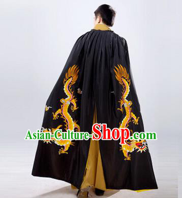 Traditional Ancient Chinese Manchu Prince Costume Long Black Cloak, Asian Chinese Qing Dynasty Royal Highness Embroidered Mantle Clothing for Men