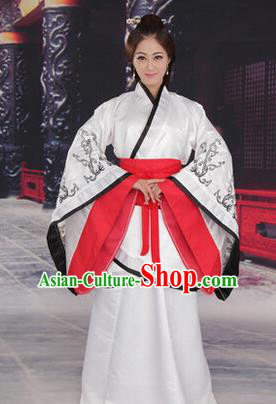 Traditional Ancient Chinese Imperial Consort Costume, Elegant Hanfu Chinese Han Dynasty Imperial Empress White Embroidered Clothing for Women