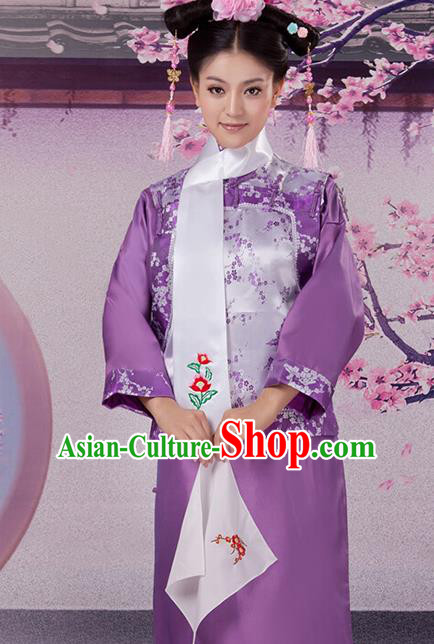 Traditional Ancient Chinese Imperial Consort Costume, Chinese Qing Dynasty Manchu Lady Princess Embroidered Purple Dress Clothing for Women