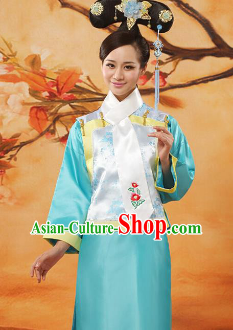 Traditional Ancient Chinese Imperial Consort Costume, Chinese Qing Dynasty Manchu Lady Princess Embroidered Blue Dress Clothing for Women