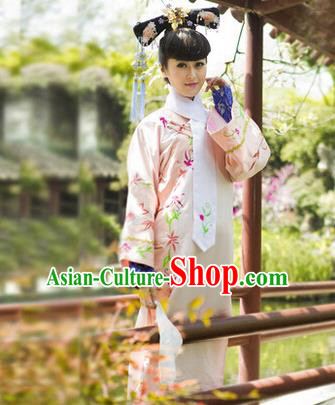 Traditional Ancient Chinese Imperial Consort Costume, Chinese Qing Dynasty Manchu Princess Embroidered Pink Dress Clothing for Women