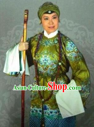Traditional Chinese Peking Opera Old Women Costume Embroidered Robe, China Ancient Beijing Opera Pantaloon Green Clothing for Women